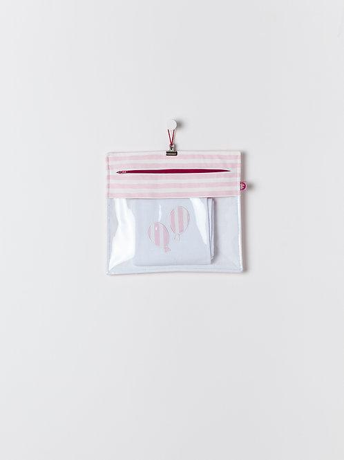 Bolsa Transparente Riscas Rosa Claro