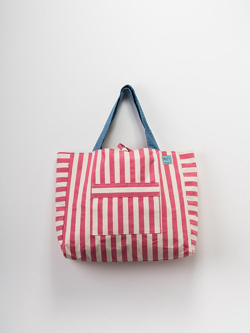 Beach Bag - Riscas Rosa