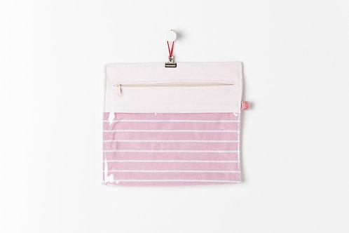 Bolsa Transparente Riscas Rosa