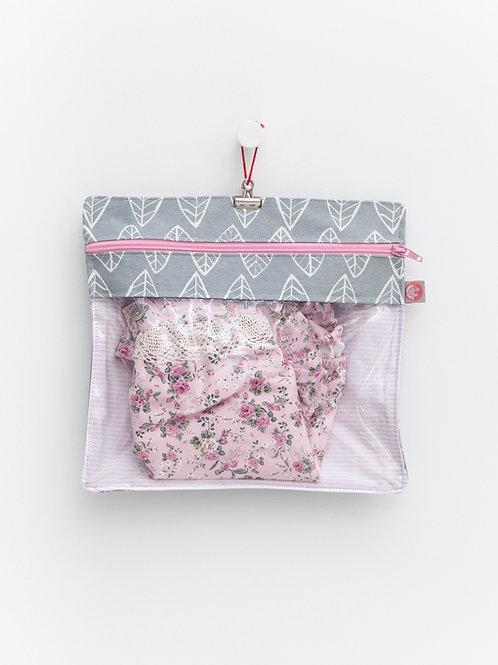 Bolsa Transparente plastificada cinza & Rosa