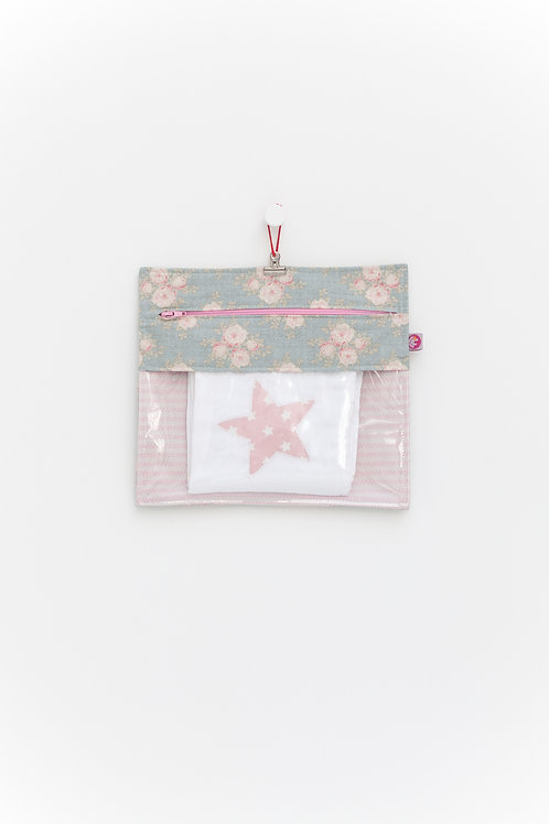 Bolsa Transparente Flores Verdes e Riscas Rosa