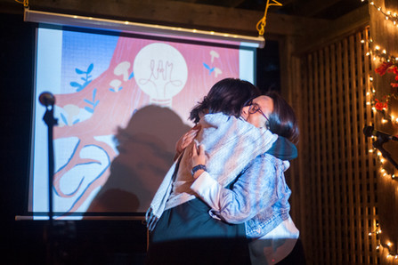 I.AM Founder, Veronica Abrenica and CMC co-founder Kristen Sison sharing a moment during the opening ceremony for I.AM enough.