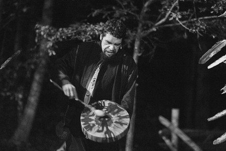 Joe Osawabine of the Debajehmujig Storytellers describing the symbolism of his drum through Anishnabek song and storytelling.