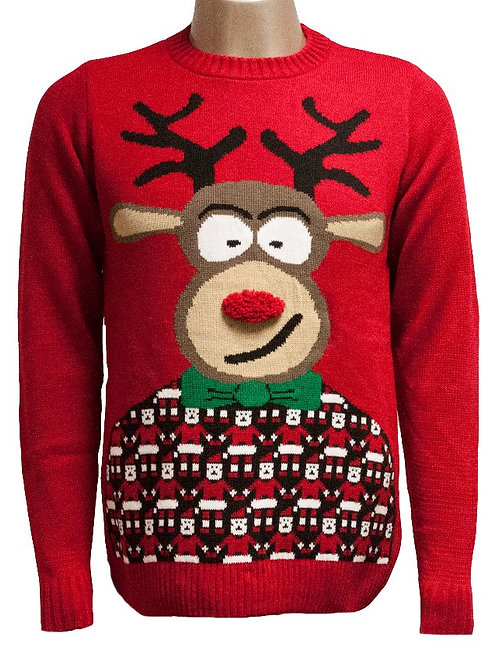 The 3D Cheeky Red Nose Reindeer Christmas Jumper