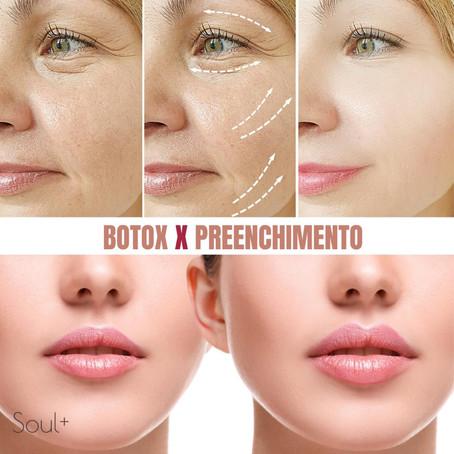A diferença entre Botox e preenchimento facial.
