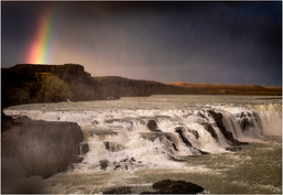 Gullfoss with Rainbow