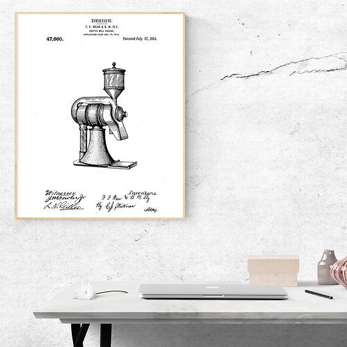 Coffee Grinder Patent Art Print