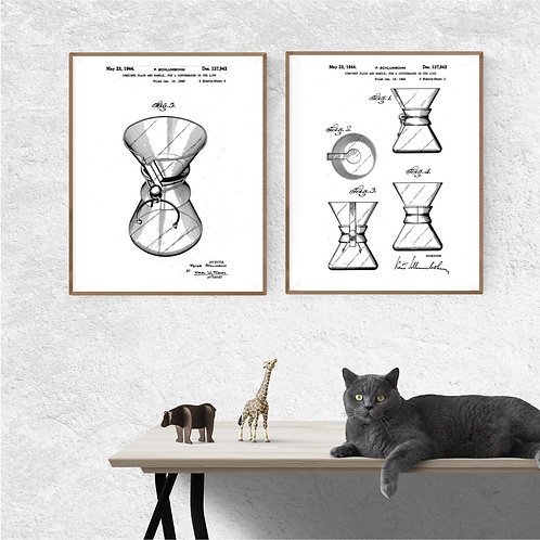 Full Chemex Patent Set of Two Prints