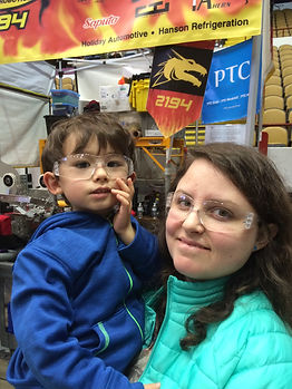 My son and I at a robot competition!