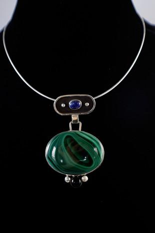 Modern Malachite, Lapis, Onyx Pendant [2019]