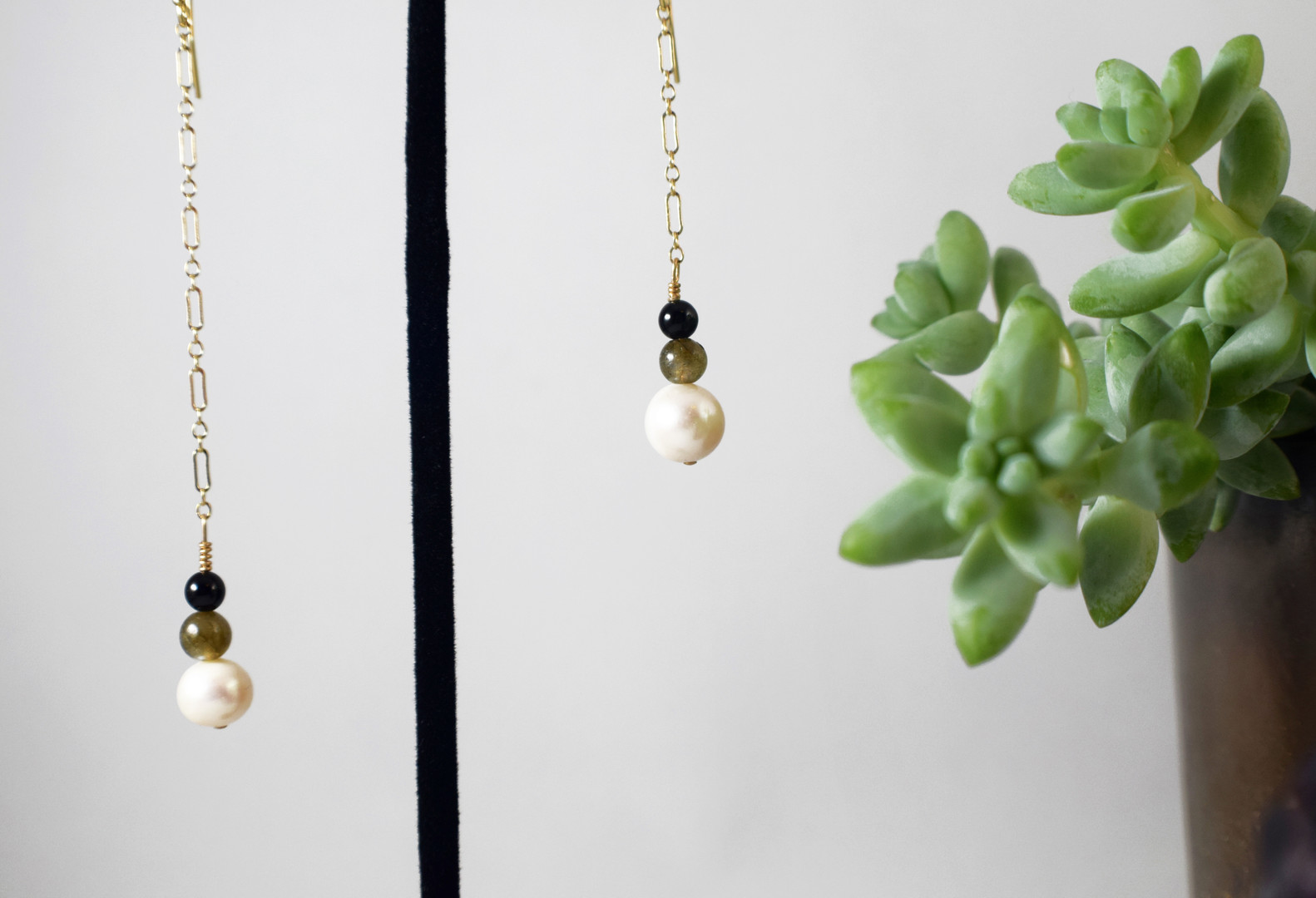 Asymmetrical Pearl Drop Earrings