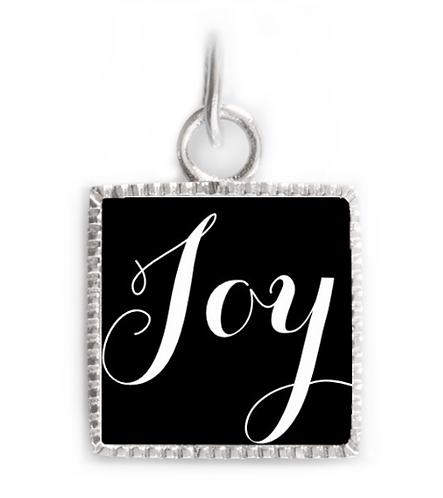 Sterling Silver Square Pendant - Joy Black