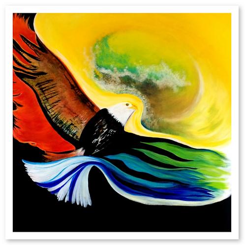 eagle, first nations, the freedom project, Because God was There, Belma Vardy, Celebration of Dance, prophetic art, fine art
