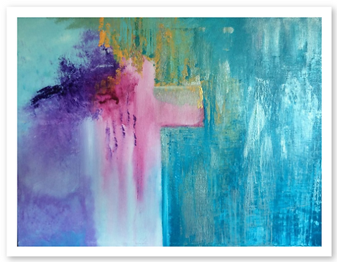 MINISTRY OF RECONCILIATION  Fine Art Print Anne Reid Artist - unframed.   CROSS - pink, purple, aqua, tourquoise
