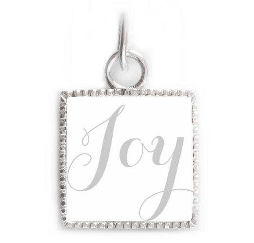 Sterling Silver Square Pendant - Joy Grey