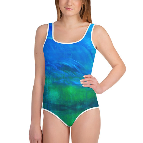 All-Over Print Youth Swimsuit - Deluge
