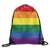 promotional drawstring bag, custom printed drawstring bag, rainbow drawstring bag, multi-coloured drawstring bag, pride bag, festival bag