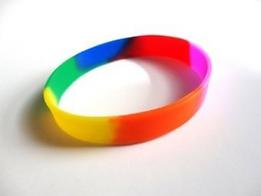 silicone wristband, promotional silicone wristband, debossed wristband, custom printed wristband, rainbow wristband, multicoloured wristband, pride wristband, festival wristband