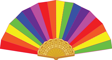 promotional fan, card fan, rainbow fan, pride Spanish fan, custom printed Spanish fan