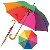 rainbow umbrella, multicoloured umbrella, promotional umbrella, custom printed umbrella, pride, festival, pride merchandise, festival merchandise
