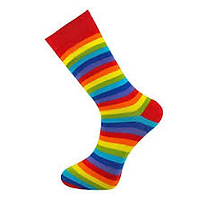 Promotional socks, custom made socks, bespoke socks, rainbow coloured socks, multicoloured socks, pride socks