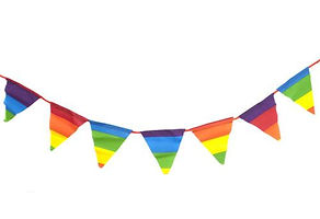promotional bunting, custom printed bunting, rainbow coloured bunting, multi-coloured bunting, pride bunting, festival bunting