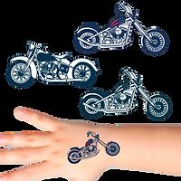 Temporary tattoos, promotional tattoos, bespoke temporary tattoos, custom shaped temporary tattoos, exhibition giveaways, motorbike tattoos