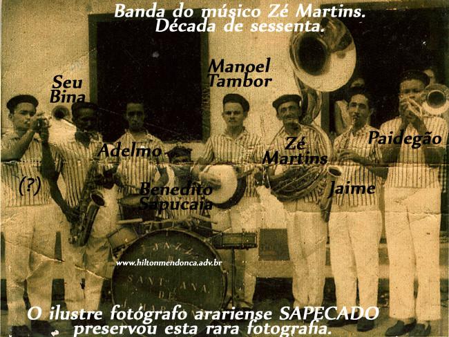 Banda de Música de Arari, destaque para o maestro Gonçalves Martins. Foto: Sapecado.