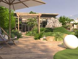 Roof garden pergola