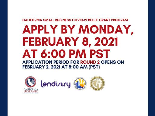 California Small Business COVID-19 Relief Grant Round 2