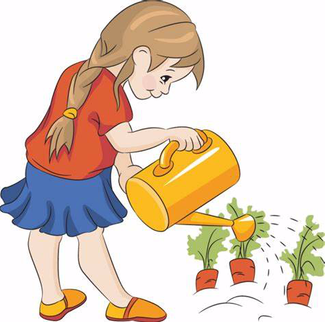 girl watering plants - clip art