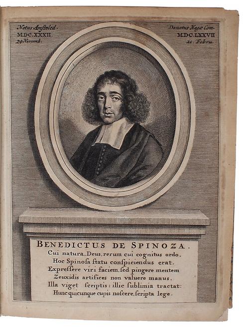 Baruch Spinoza - scarce portrait of the blasphemer bound with his masterpiece!