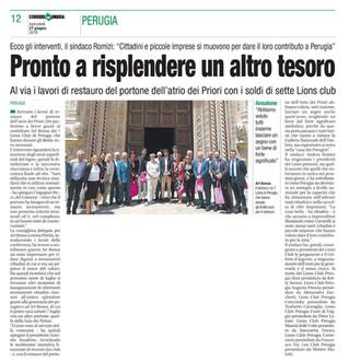 Service per il restauro del portone di Palazzo dei Priori ad opera dei Lions Club