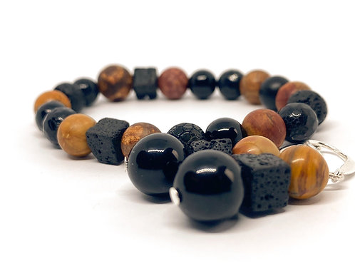 """Natural Picasso Stone, Lava Stone, Agate Beads With Earrings """"Žemė"""""""