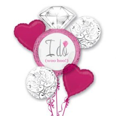 I Do (Woo Hoo!) Bright Pink Wedding Balloon Bouquet