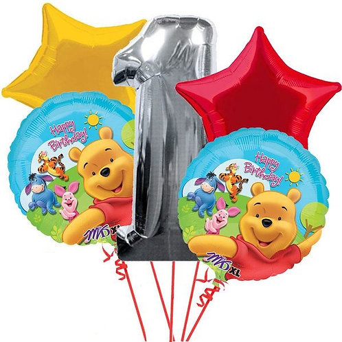 Winnie the Pooh Number Birthday Balloon Bouquet (Choose your Number)