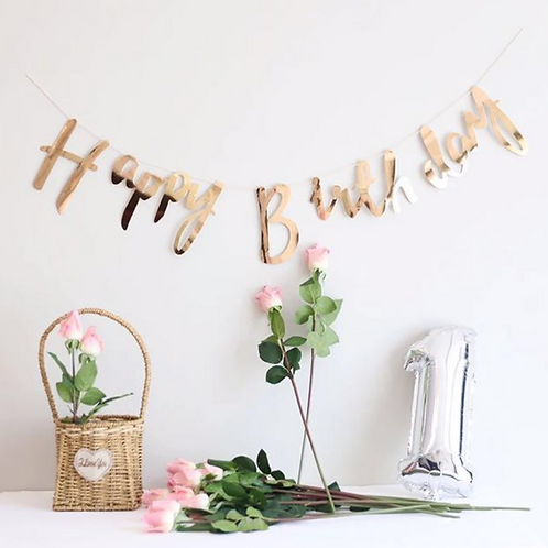 Happy Birthday Script Bunting - Rose Gold