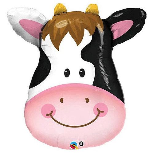 "32"" Playful Cow Head Foil Balloon"