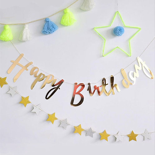 Happy Birthday Script Bunting - Gold