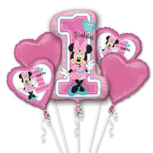 1st Birthday Minnie Mouse Balloon Bouquet
