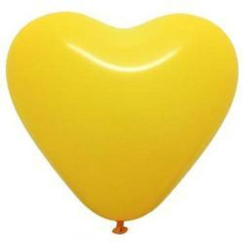 "12"" Yellow Heart Shaped Latex Balloon"