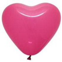 "12"" Fuchsia Heart Shaped Latex Balloon"