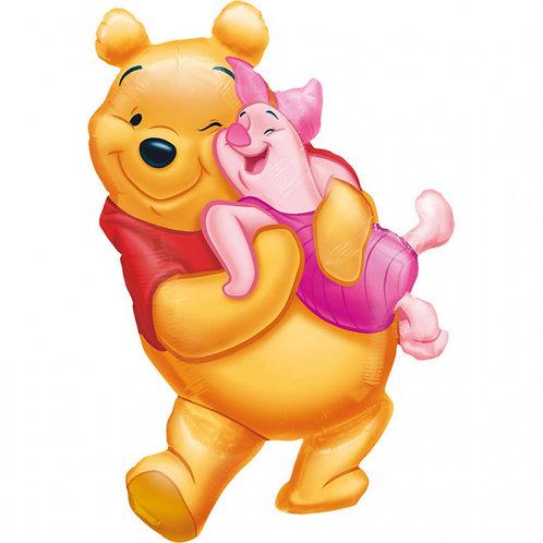 "37"" Winnie the Pooh Hugging Hug Piglet Foil Balloon"