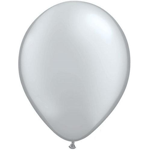 """12"""" Metallic Pearl Latex Balloon - Silver"""