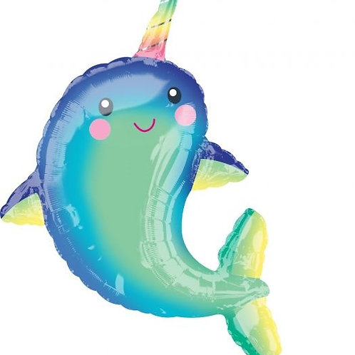 """39"""" Happy Narwhal Foil Balloon"""