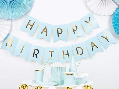 Happy Birthday Bunting - Pastel Blue