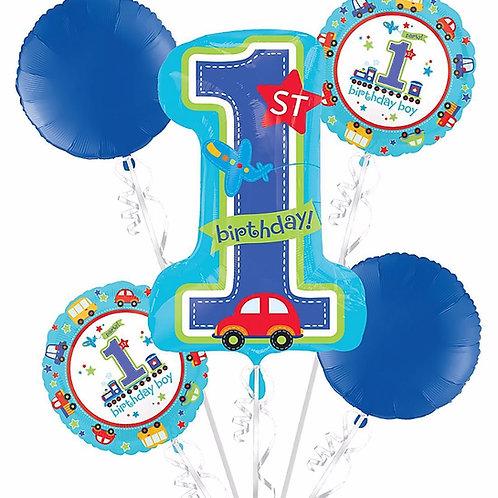 All Aboard Boy 1st Birthday Balloon Bouquet
