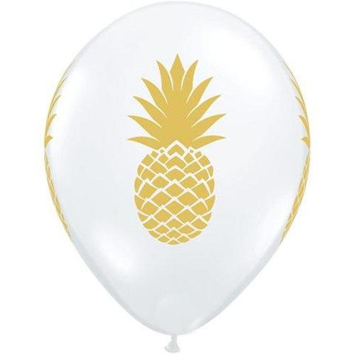 "11"" Diamond Clear Pineapple Printed Latex Balloon"