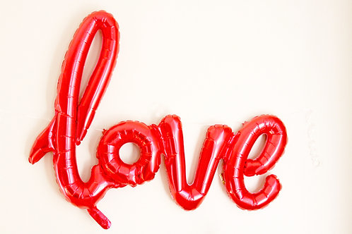 "40"" Airfilled Red Love Script Foil Balloons"