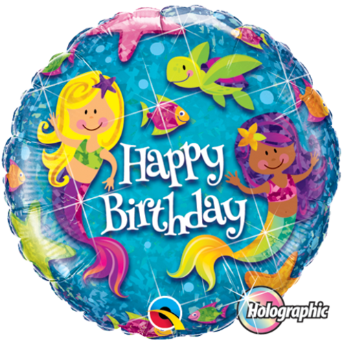 "18"" Holographic Birthday Mermaids Foil Balloon"